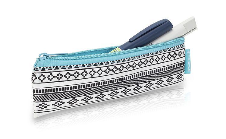 Pen case for storing insulin.