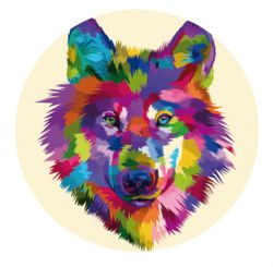 Freestyle Libre sensor sticker - Colored wolf