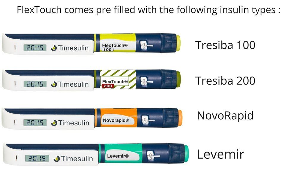 Levemir, Novorapid, Tresiba 100, Tresiba 200 insulin pen cap Timesulin